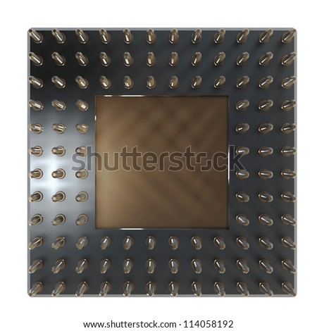 Back side of a CPU card with gold pins isolated on white background. High resolution 3D render - stock photo