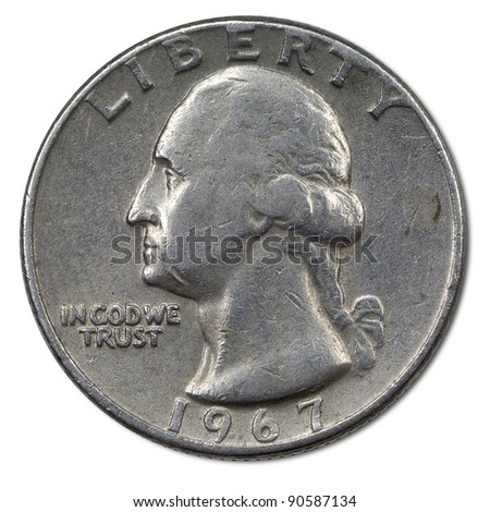 back side of american 25 cents coin - stock photo