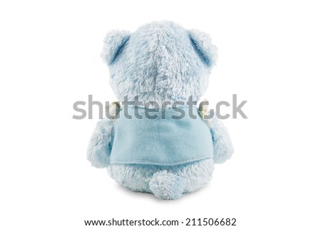 Back side of blue teddy bear with jacket isolated on white background. - stock photo