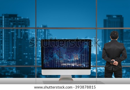 Back side businessman looking city out stock photo 393878815 back side of businessman looking at city out off windows glass with computer show trading graph gumiabroncs Image collections