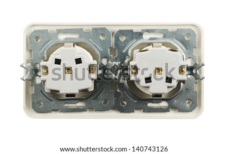Back side of electrical double jack socket isolated over white background - stock photo