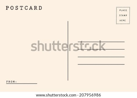 Back side of postcard. - stock photo