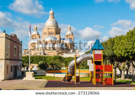 Back side of the Church of Christ the King in Paola, Malta - stock photo