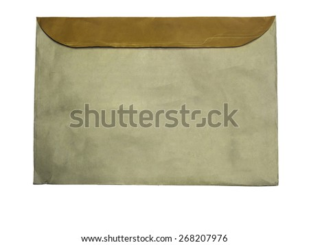 Back side,Vintage brown blank envelope, isolated on white background - stock photo