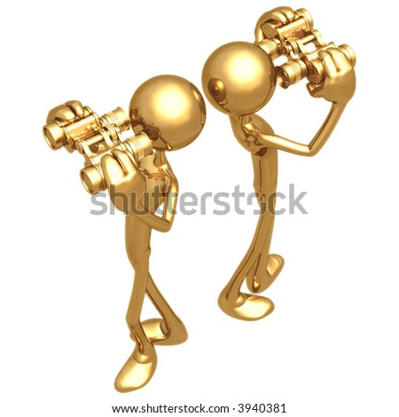 Back to Back Looking Through Golden Binoculars - stock photo