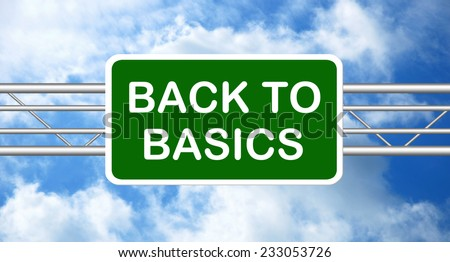 Back to Basics Road Sign - stock photo