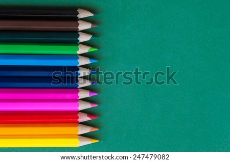 Back to school. A bright bunch of coloring pencils - stock photo