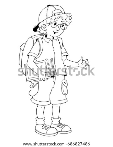 Back To School A Cute Boy Ready For Illustration Children Coloring