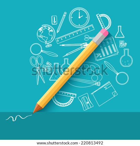back to school abstract background of flat icons notebook concept.  illustration design - stock photo