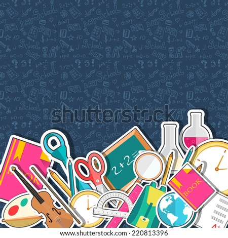 back to school abstract background of flat icons sticker concept. illustration design - stock photo