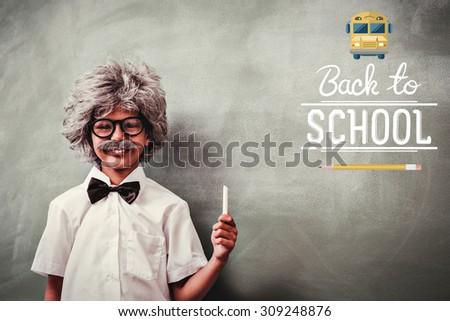 back to school against boy dressed as senior teacher in front of blackboard - stock photo