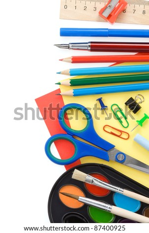 back to school and supplies isolated on white background - stock photo
