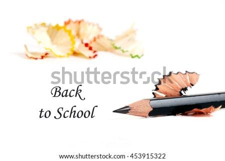 Back to school. Back to school concept. Back to school card. Back to school and color pencils on white. - stock photo