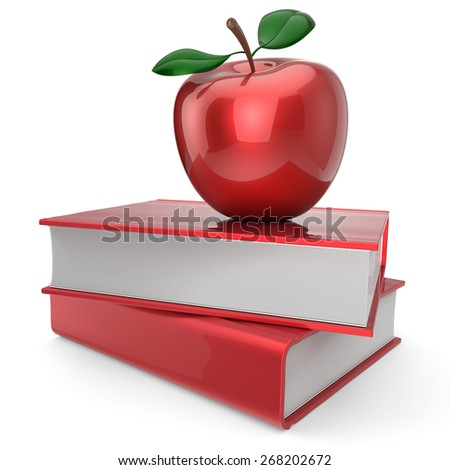 Back to school book and apple education health books reading textbook concept. 3d render isolated on white - stock photo