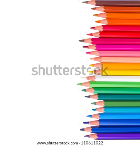 back to school border of multicolored pensils isolated on white background - stock photo