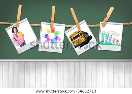 Back to School Bus Girl and Artwork on Chalkboard Background - stock photo