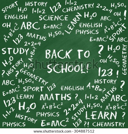 Back to school card. Hand drawn equations and text on green chalkboard. Raster version - stock photo