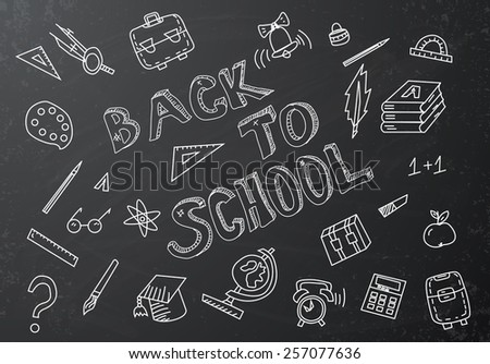 Back to school chalkboard sketch - stock photo