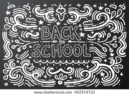 Back to school chalkboard sketch. Hand drawn vintage print with decorative outline text. Vintage background. Isolated on black