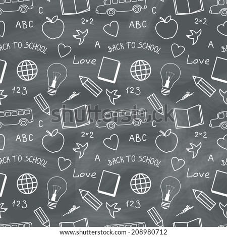 Back to school chalkboard with doodles. Seamless pattern - stock photo