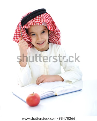 Back to school, child with apple - stock photo