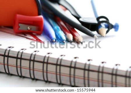 back to school - close-ups of school supplies - stock photo