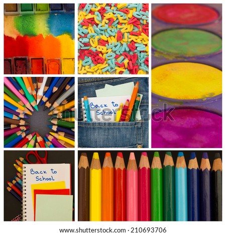 back to school collage - stock photo