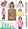 Back to School Collage With Elements on a White Background - stock photo