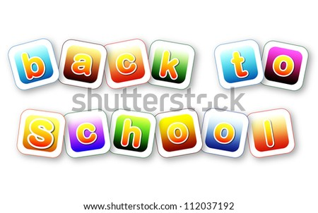 back to school color letters over colorful cards - stock photo