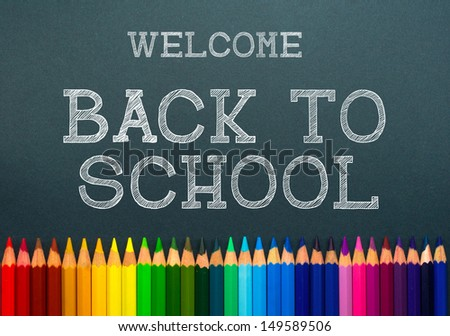 back to school. color pencils - stock photo