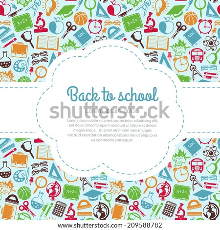 Back to school colorful background with space for text, education icons - stock photo
