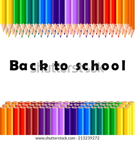 Back to school, colorful pencil, background - stock photo