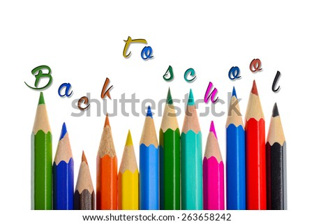 Back to school - coloring crayons isolated on white background