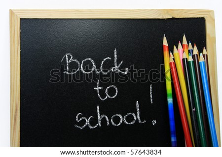 Back to school - colour pencils - stock photo