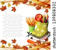 Back to school concept on autumn background - stock photo