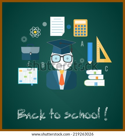 Back to school concept with item icons. Book calculator briefcase. Raster version - stock photo