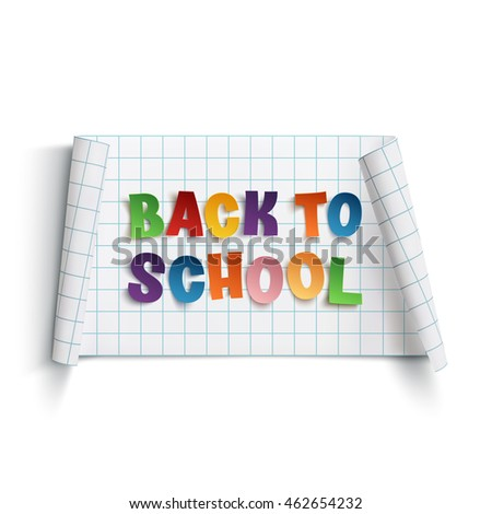 Back to school curved paper banner, isolated on white background.