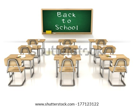 back to school 3d illustration - classroom on white background - stock photo
