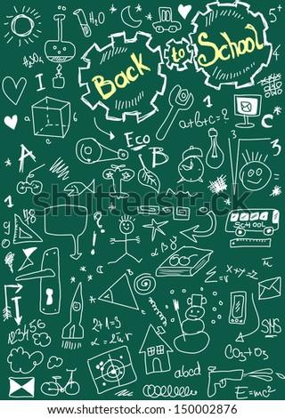 Back to school, doodle school  symbols on chalkboard - stock photo