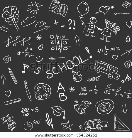 Back to school doodles on blackboard, seamless pattern.  - stock photo