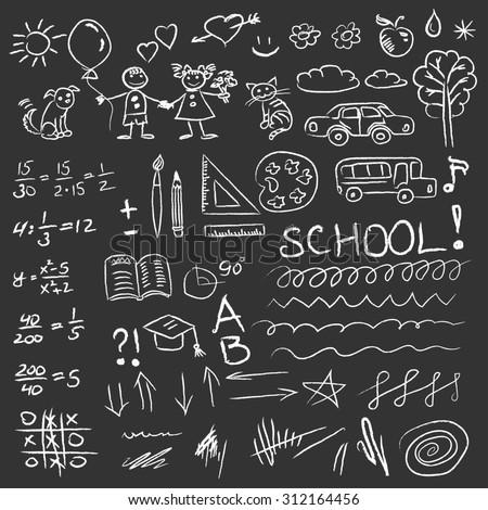 Back to school doodles set on blackboard. - stock photo