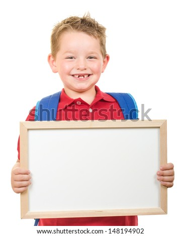 Back to school education concept with child wearing backpack and holding sign isolated on white - stock photo