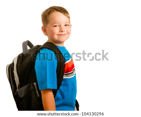 Back to school education concept with portrait of child wearing backpack isolated on white - stock photo