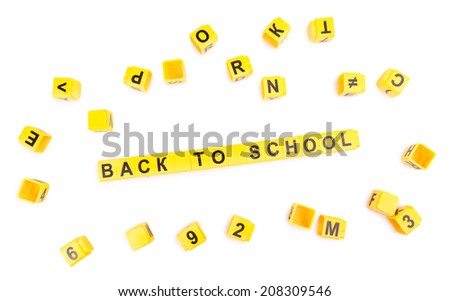 Back to school. Educational cubes isolated on white - stock photo