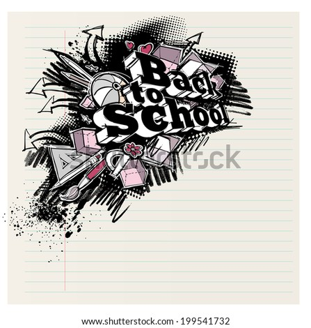 Back to school expressive label, grunge freehand sketchy style, on notebook page - stock photo