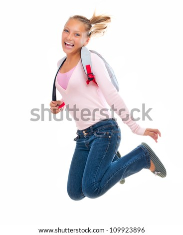 Back To School. Happy and Smiling High School Student Jumping .Isolated on a White Background - stock photo