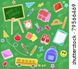 back to school icon set (raster version) - stock photo