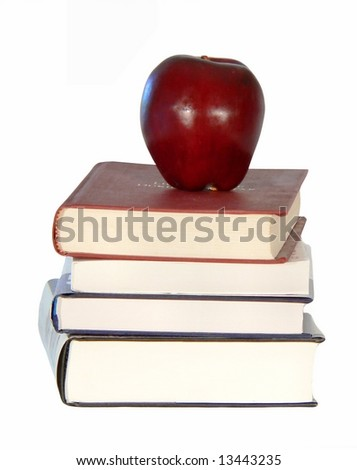 Back to school image of used books with an apple