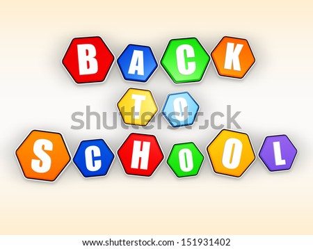 back to school in colorful hexagons, education concept - stock photo