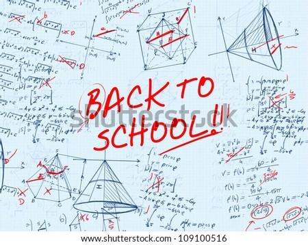 back to school math test error illustration - stock photo